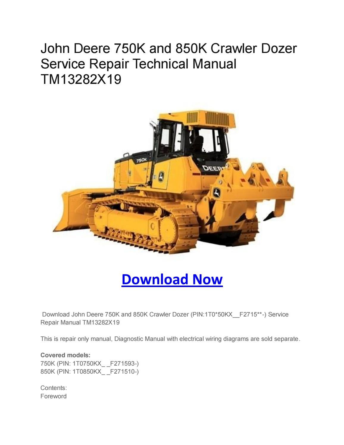 John Deere 750k And 850k Crawler Dozer Service Repair