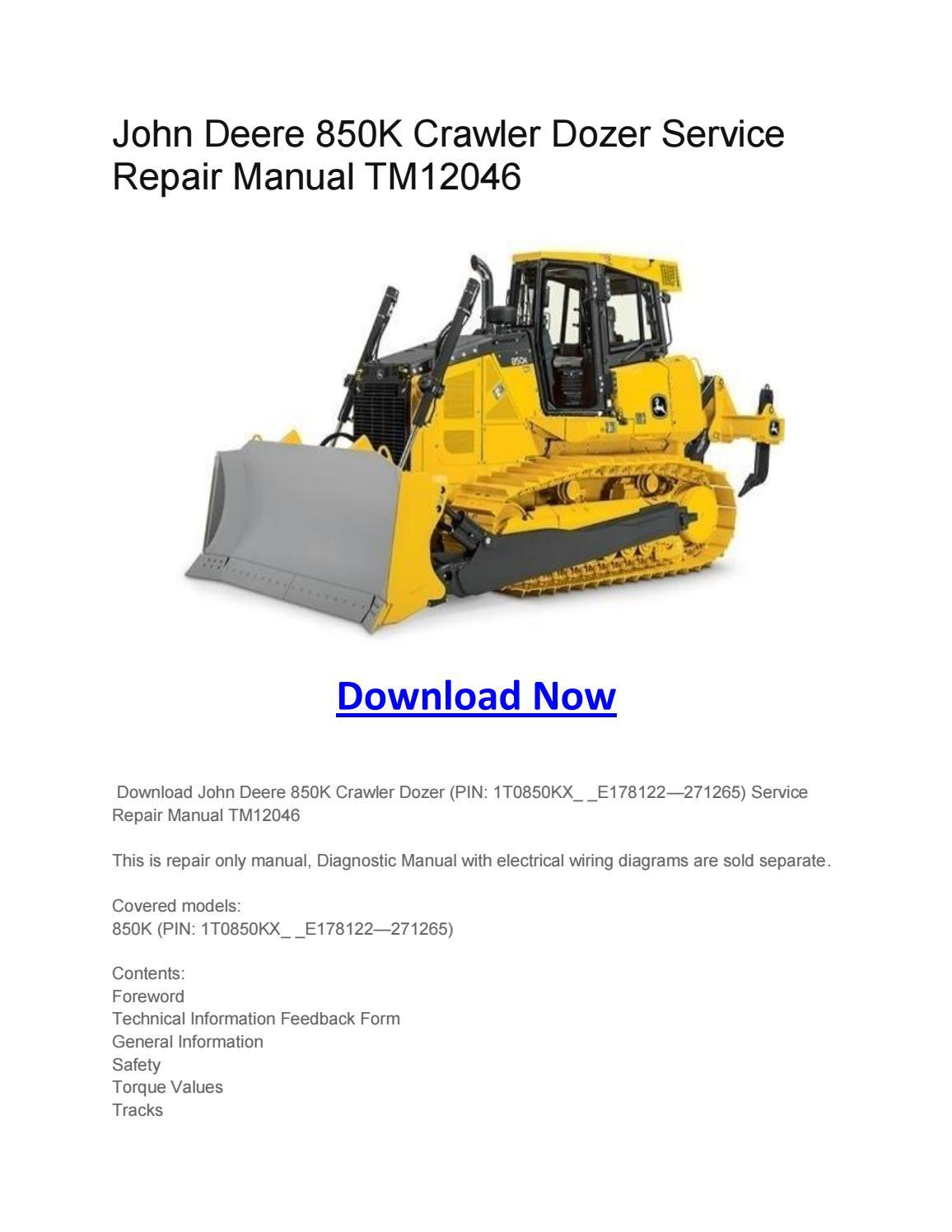John Deere 850k Crawler Dozer Service Repair Manual
