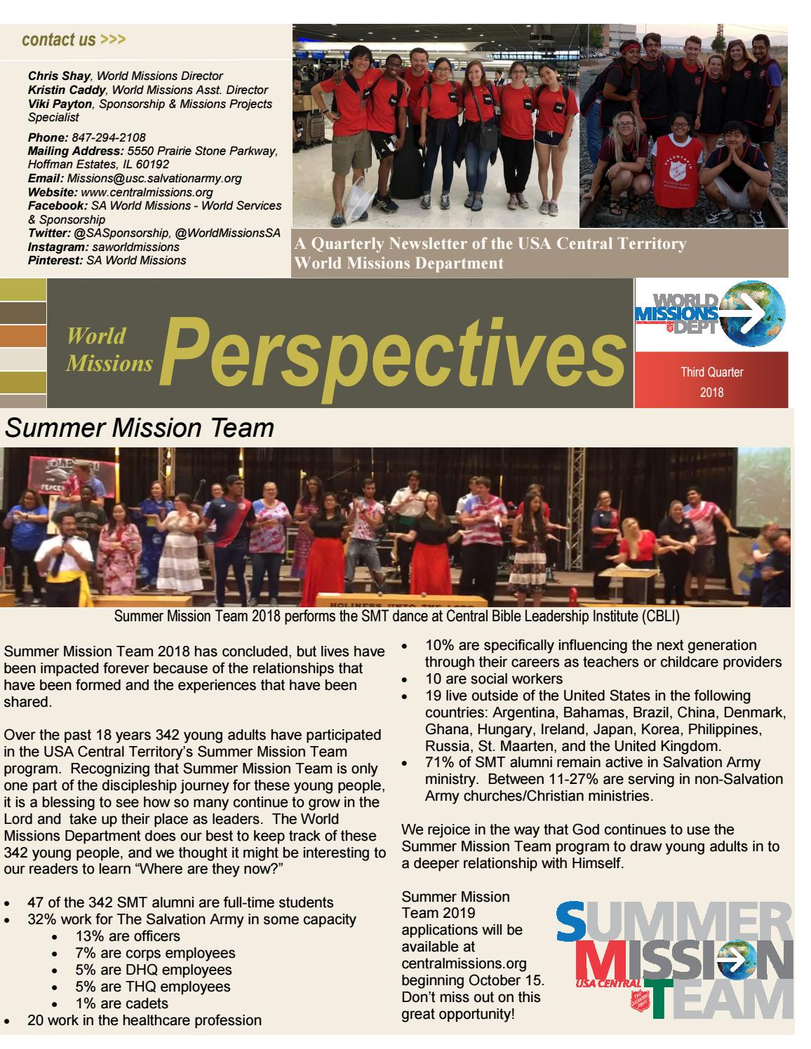 2018 3rd Quarter WMP Newsletter by SA World Missions - issuu