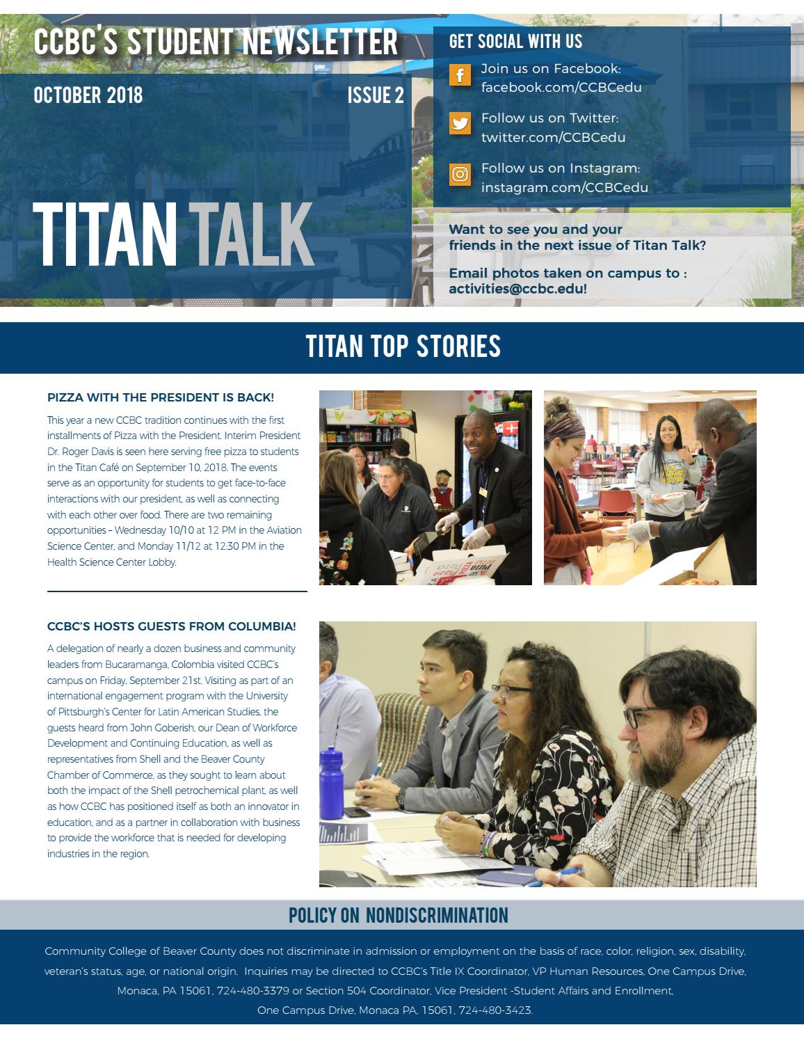 Titan Talk - October 2018 by Community College of Beaver