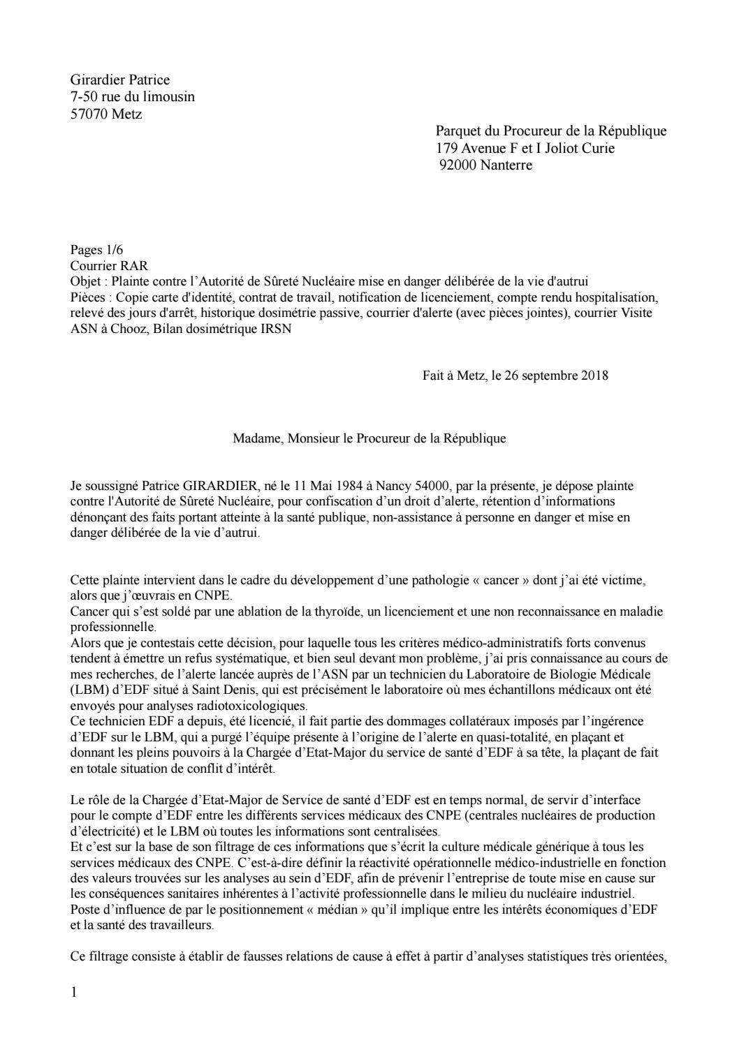 Plainte ASN Patrice GIRARDIER By Association MZC