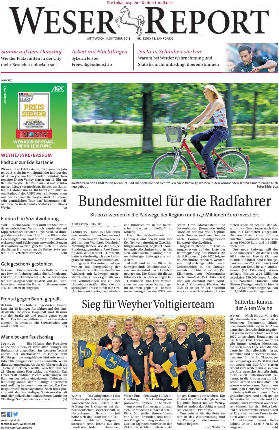 Weser Report - Weyhe, Syke, Bassum vom 03.10.2018 by KPS  Verlagsgesellschaft mbH - issuu