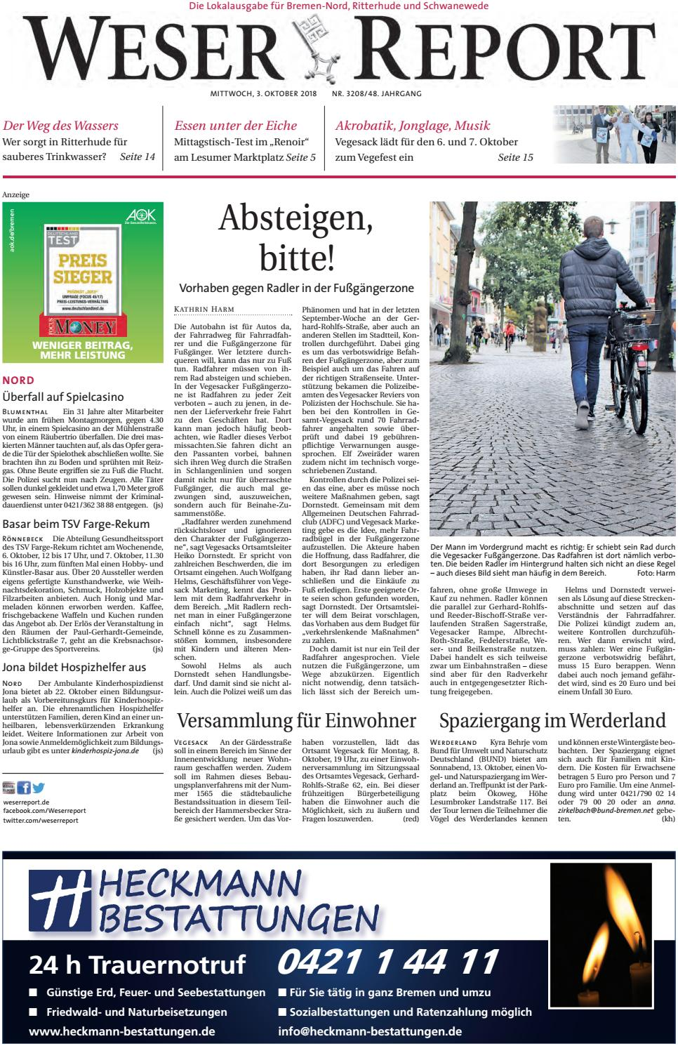 Weser Report - Nord vom 03.10.2018 by KPS Verlagsgesellschaft mbH - issuu