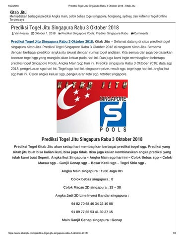 Prediksi Togel Jitu Singapura Rabu 3 Oktober 2018 By