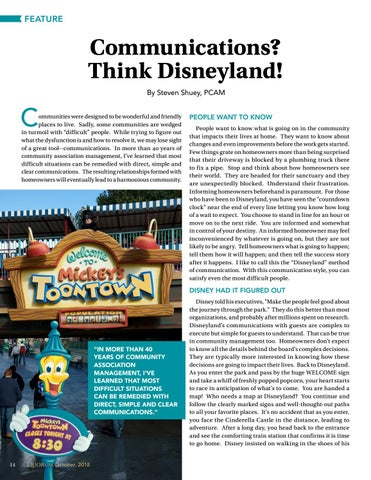 Page 14 of Communications?  Think Disneyland! By Steven Shuey, PCAM