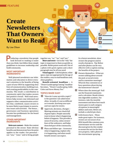 Page 18 of Create Newsletters That Owners Want to Read By Lisa Olson