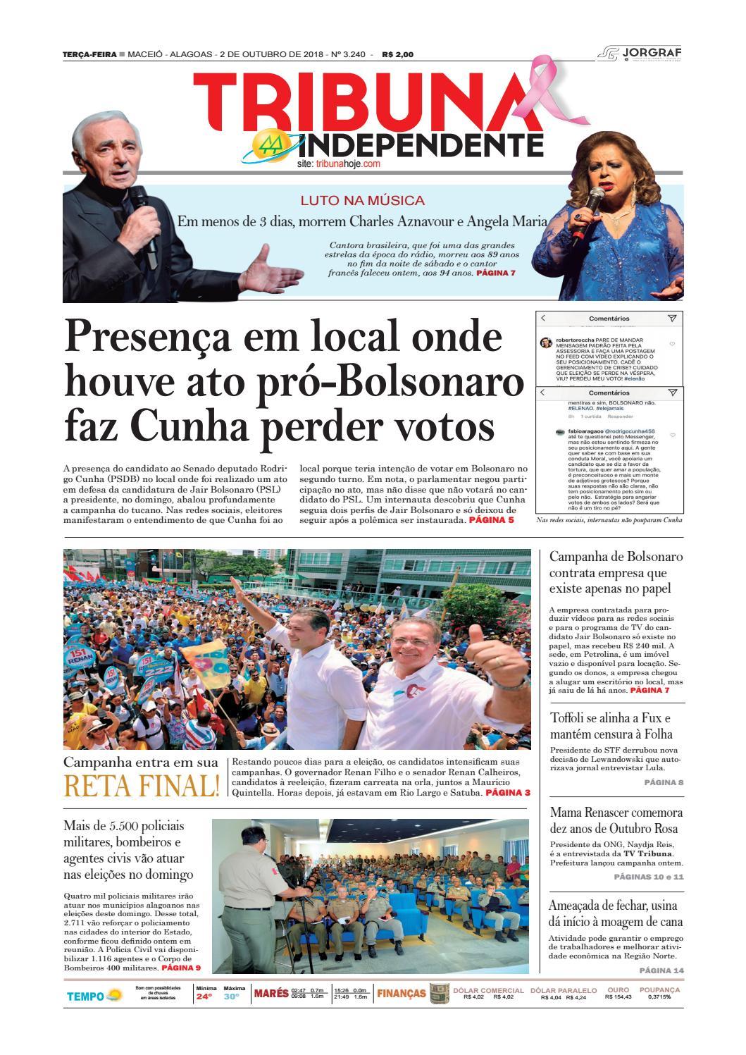 e5c6aaa66e1 Edição número 3240 - 2 de outubro de 2018 by Tribuna Hoje - issuu