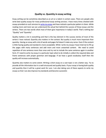 Essay About Quality