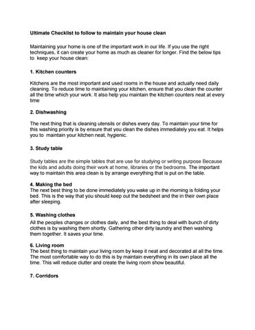 Ultimate Checklist To Follow Maintain Your House Clean By Voora Shreeram Issuu