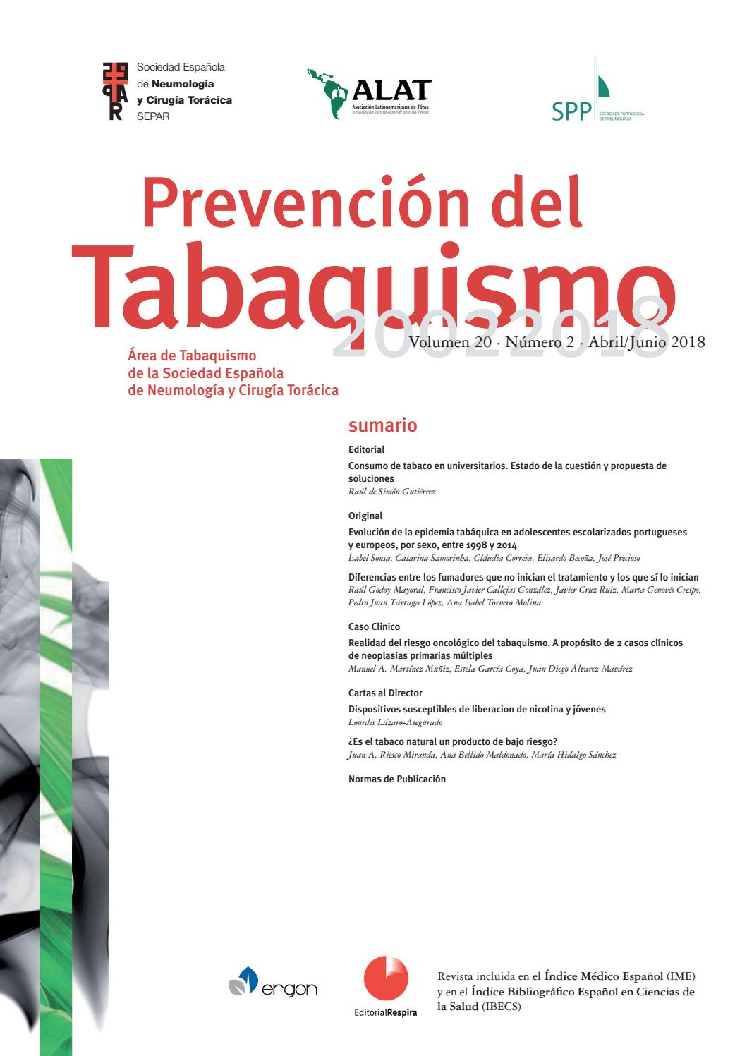 Revista Prevención del tabaquismo abril - julio 2018 by SEPAR - issuu