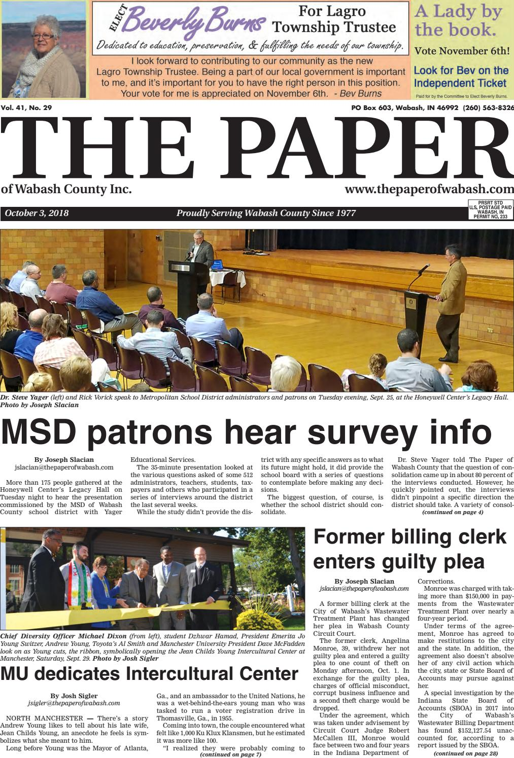 53c66e6d0 The Paper of Wabash County, Oct. 3, 2018 issue by The Paper of Wabash  County - issuu