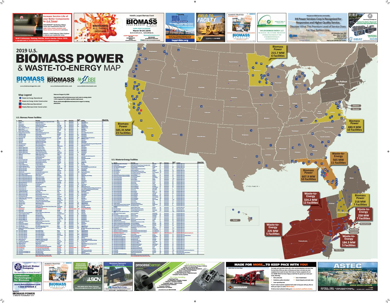 2019 Biomass Power & Waste-to-Energy Map by BBI