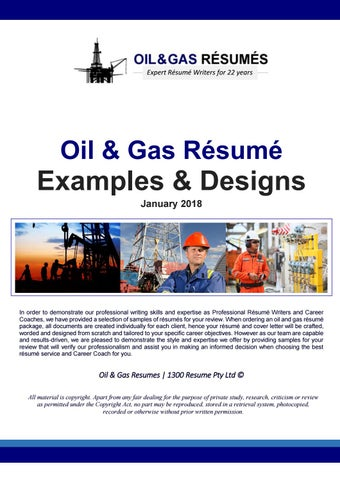 2018 Oil And Gas Resume Samples