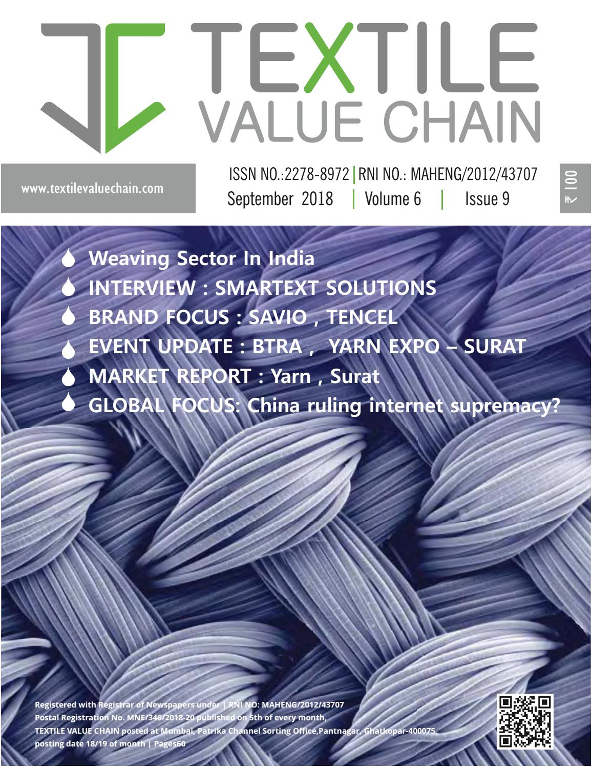 September Issue 2018 By Textile Value Chain Media Issuu