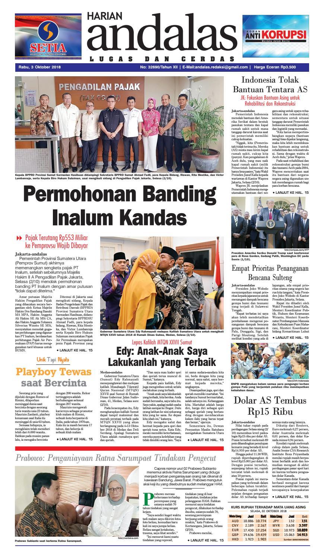 Epaper Andalas Edisi Rabu 03 Oktober 2018 By Media Issuu Produk Ukm Bumn Baju Muslim Anak Laki Dannis Nomor 10 Abu