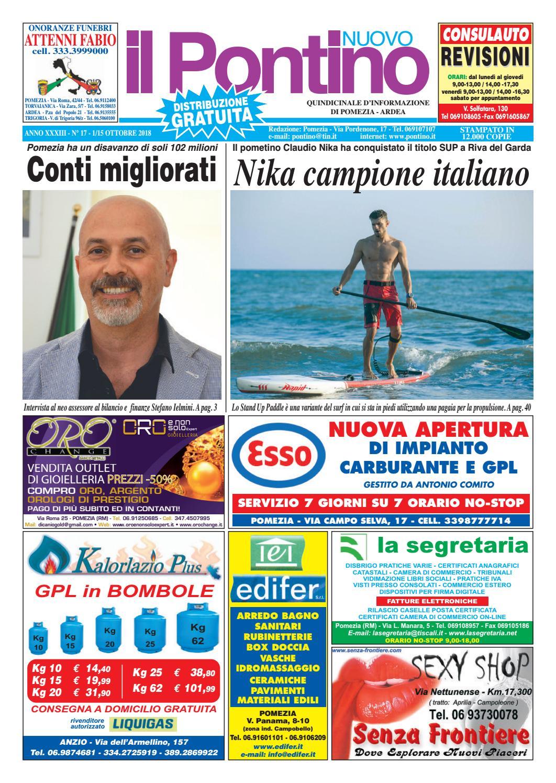 Il Pontino Nuovo - Anno XXXIII - N. 17 - 1 15 Ottobre 2018 by Il Pontino Il  Litorale - issuu c6ea41894e63