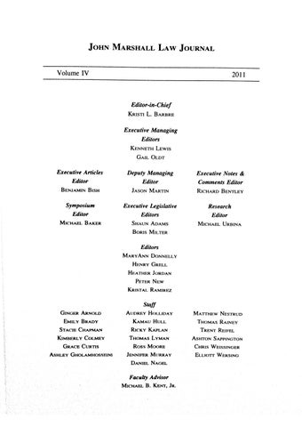 Atlanta's John Marshall Law Journal Volume IV by Atlanta's
