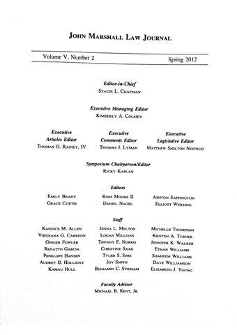 Atlanta's John Marshall Law Journal Volume V Issue II by