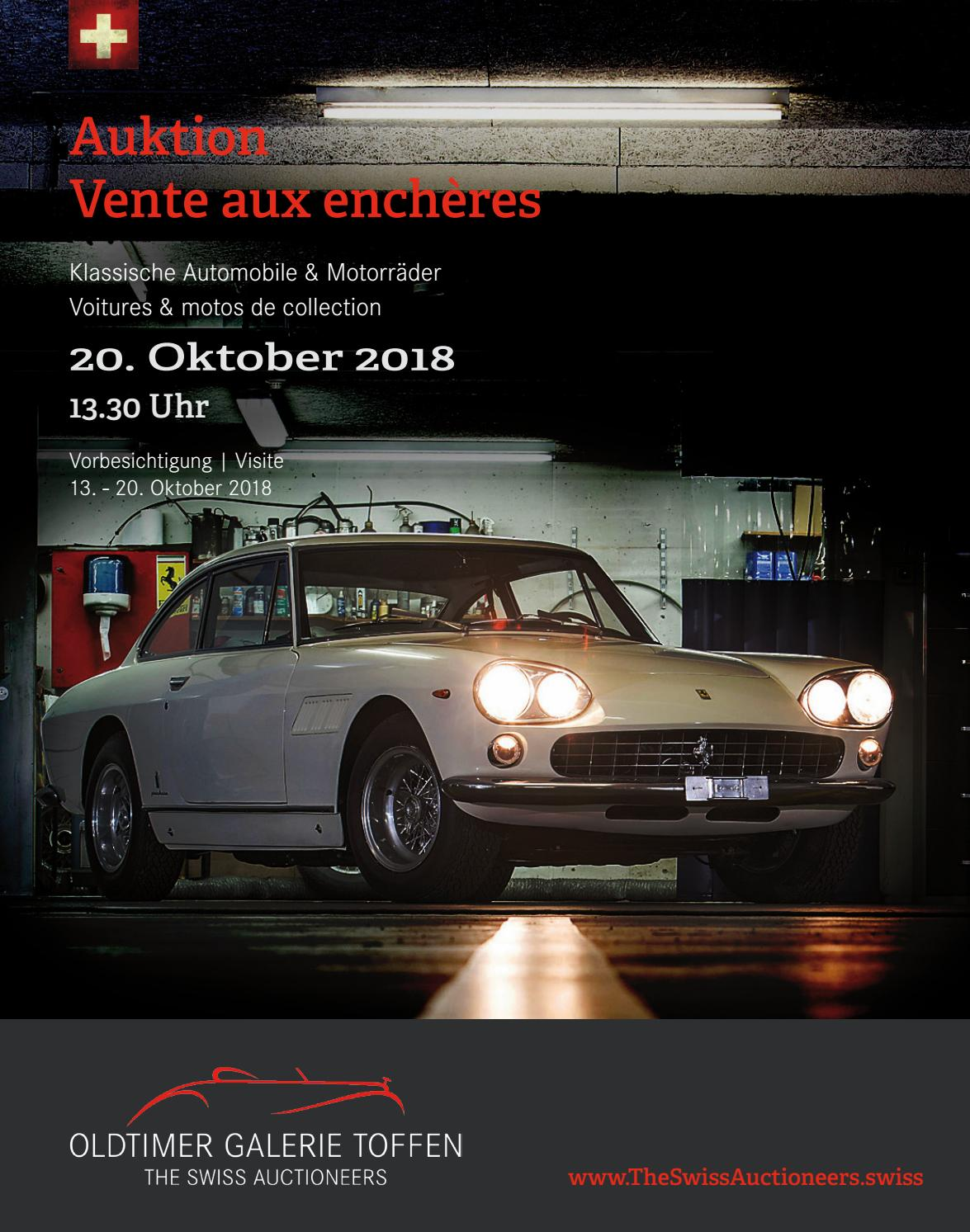 CLASSIC CAR AUCTION On October 20th 2018 By Oldtimer Galerie International GmbH