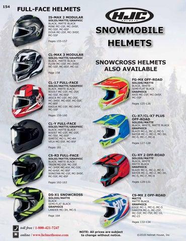 HJC CL-17 Arica Helmet MC-1SF MC-2SF MC-3HSF MC-4SF MC-5SF MC-8SF Full Face