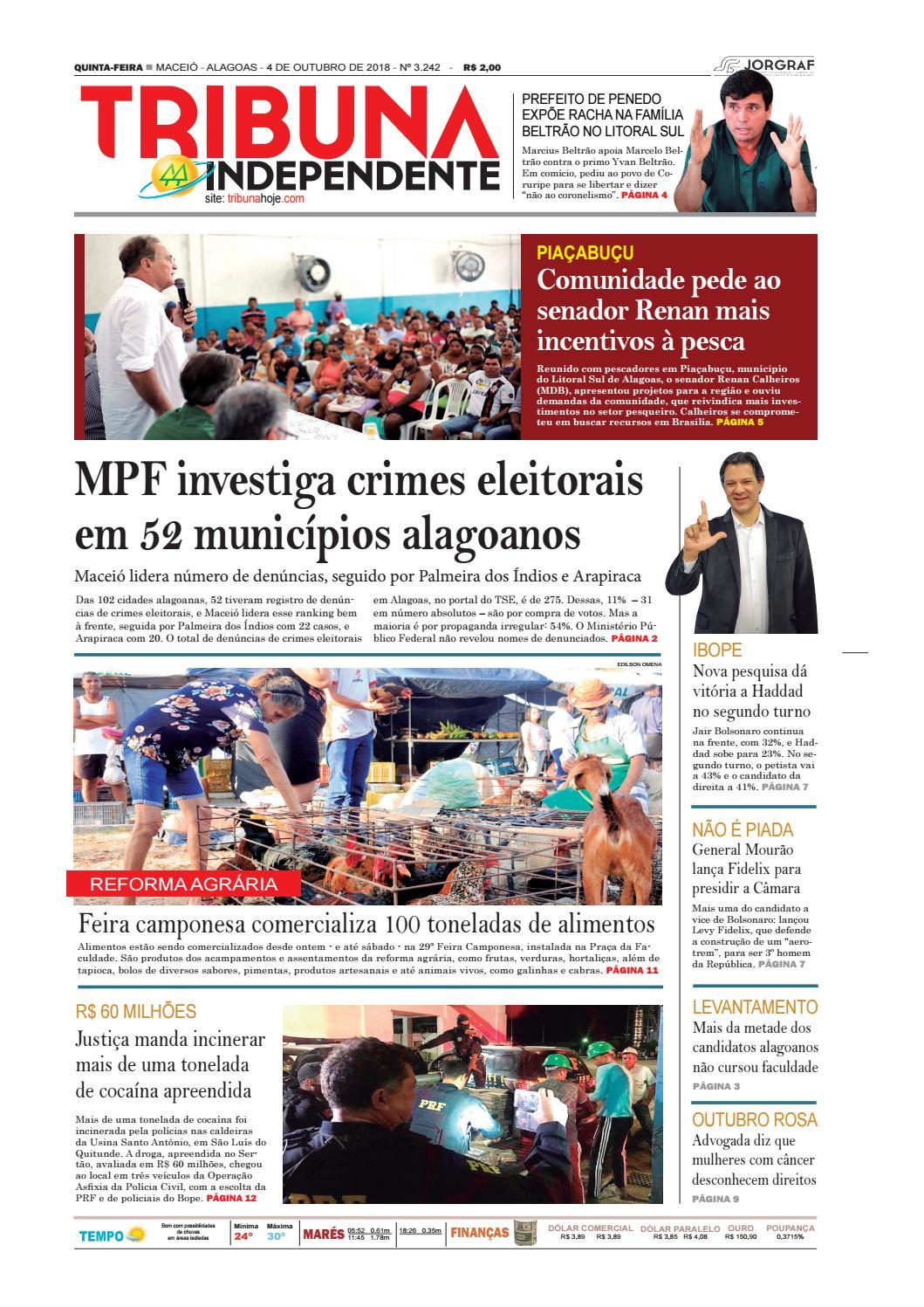 bc2ce8cc294b0 Edição número 3242 - 4 de outubro de 2018 by Tribuna Hoje - issuu