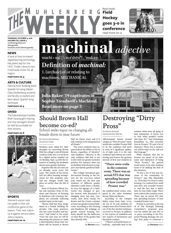 The Muhlenberg Weekly - October 4, 2018 by The Muhlenberg