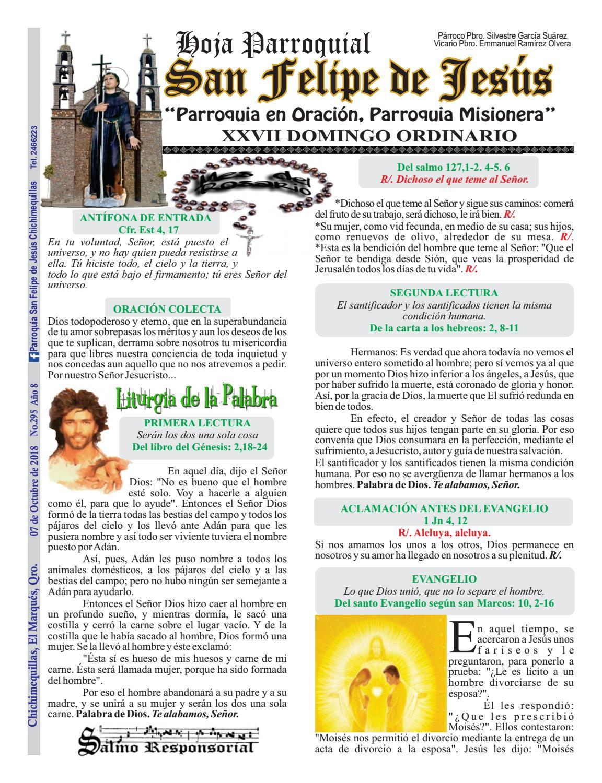 Hoja Parroquial No. 295 Parroquia San Felipe de Jesús ...