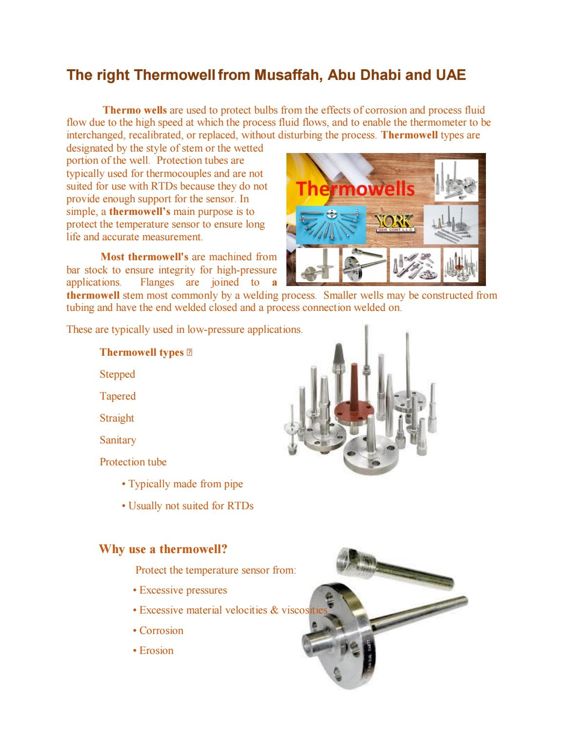 Best Thermowell manufactures in UAE by York General LLC - issuu