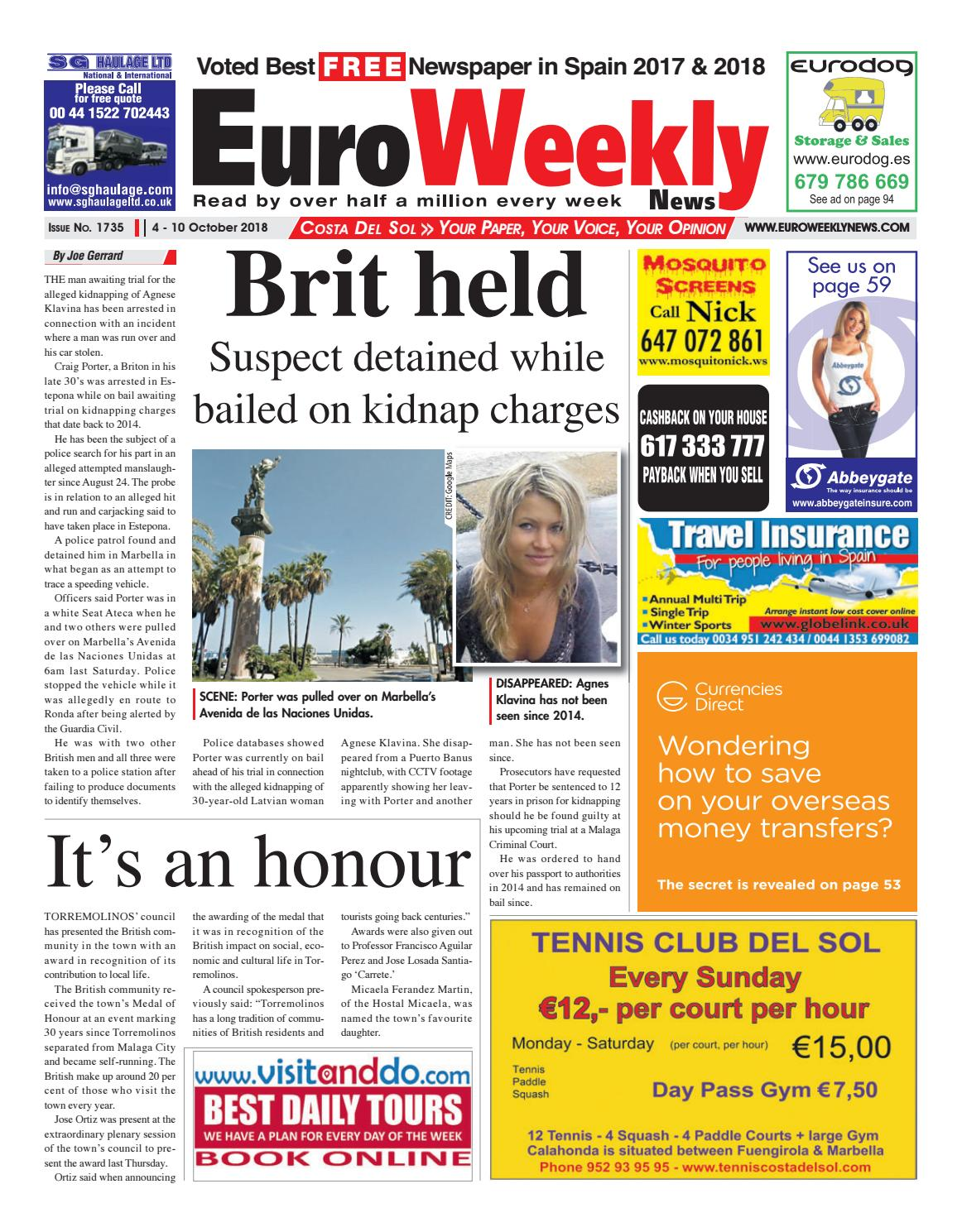 8d86815ad214 Euro Weekly News - Costa del Sol October 4 - 10 2018 Issue 1735 by Euro  Weekly News Media S.A. - issuu