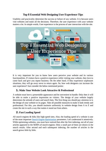Top 8 Essential Web Designing User Experience Tips By Media Fortrees Issuu