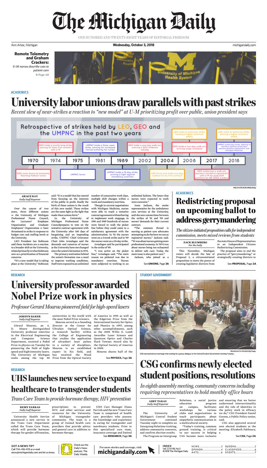 2018-10-03 by The Michigan Daily - issuu
