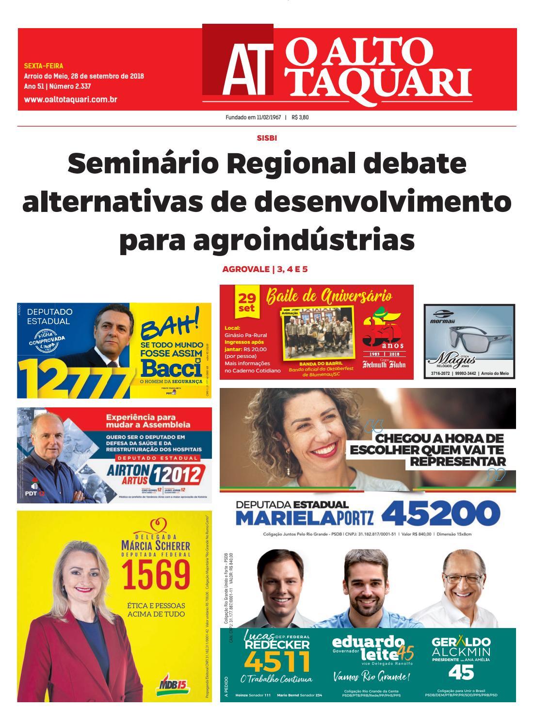 eceb46d366 Jornal O Alto Taquari - 28 de setembro de 2018 by Jornal O Alto Taquari -  issuu