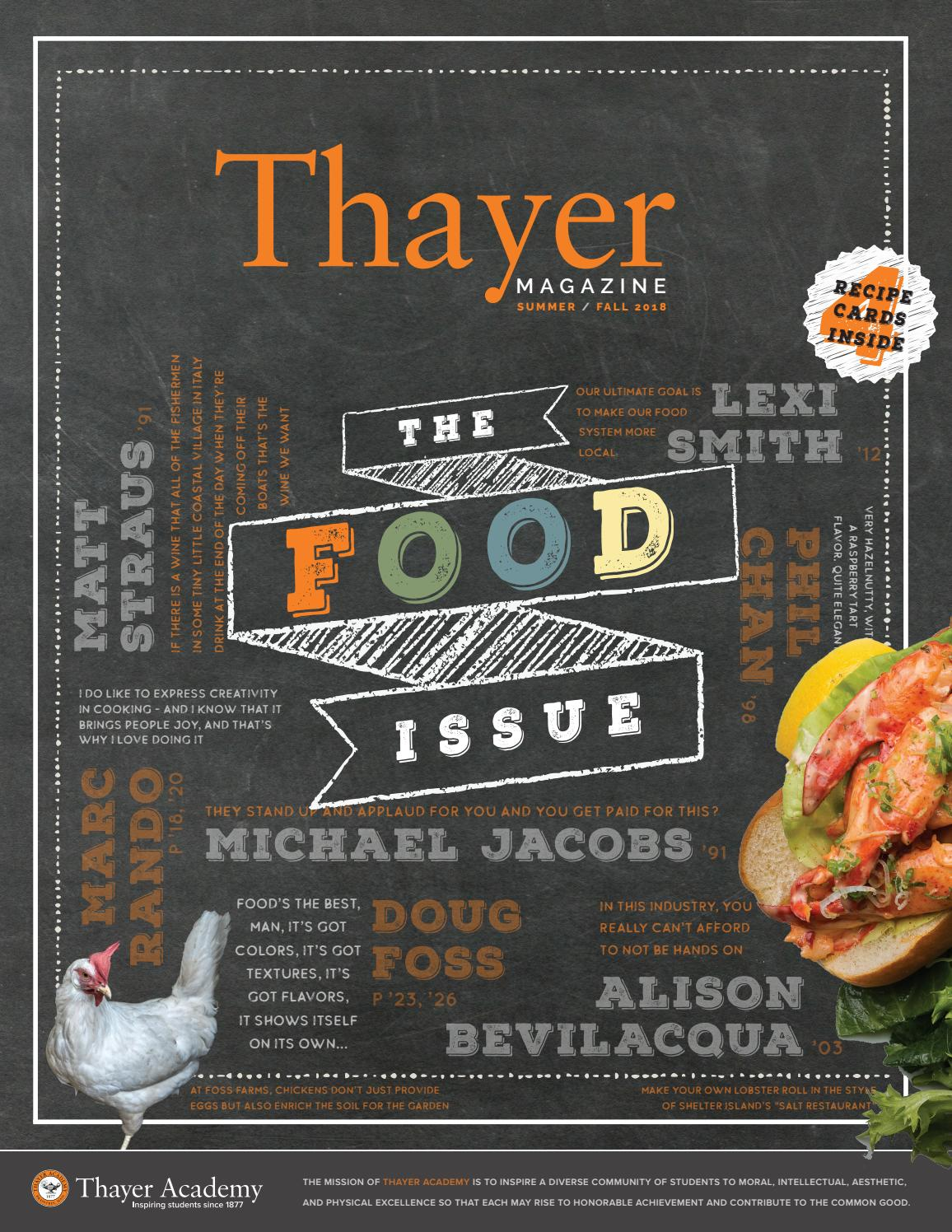 8de174d452 Thayer Magazine - Summer/Fall 2018 Issue - The Food Issue by Thayer Academy  - issuu