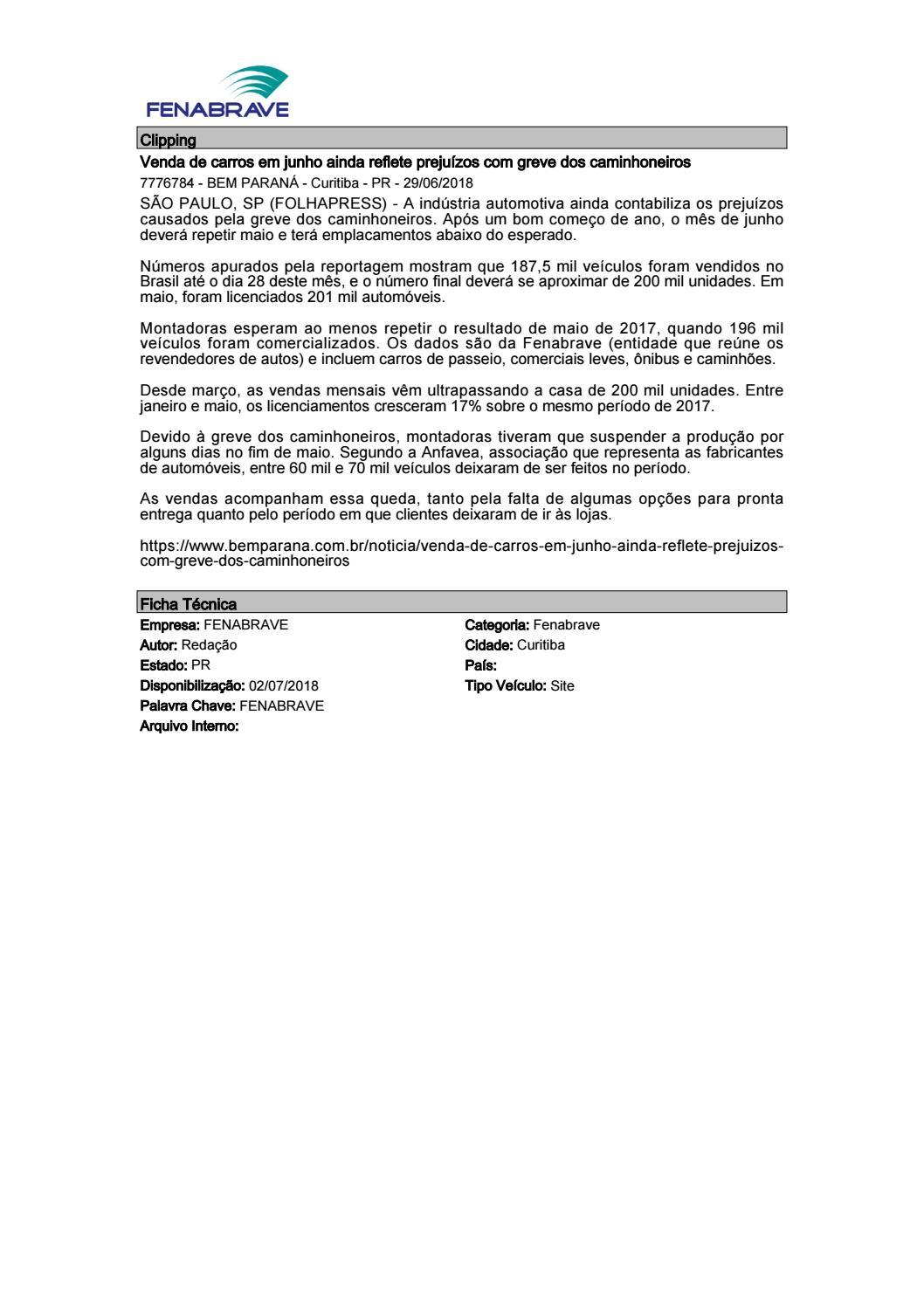 83334139fdaab Clipping Fenabrave 02.07.2018 by MCE Comunicação - issuu
