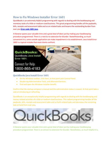 About Call @ 1+800-865-4183 QuickBooks Java Install Error 1601 by