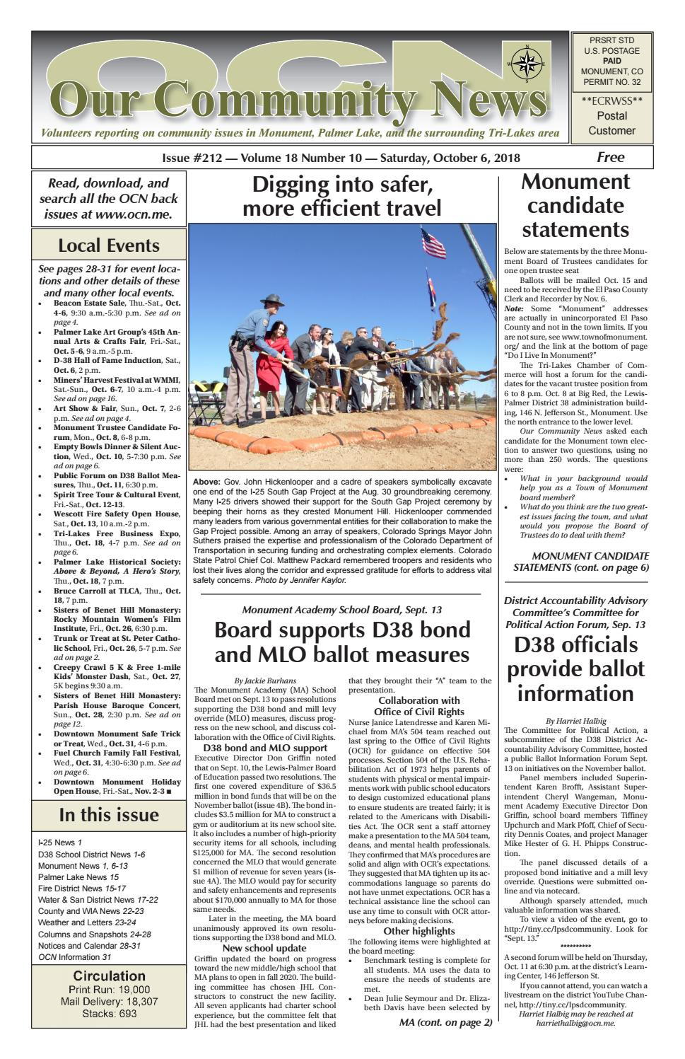 7473e1805dc Vol. 18 No. 10 - October 6, 2018 by Our Community News - issuu