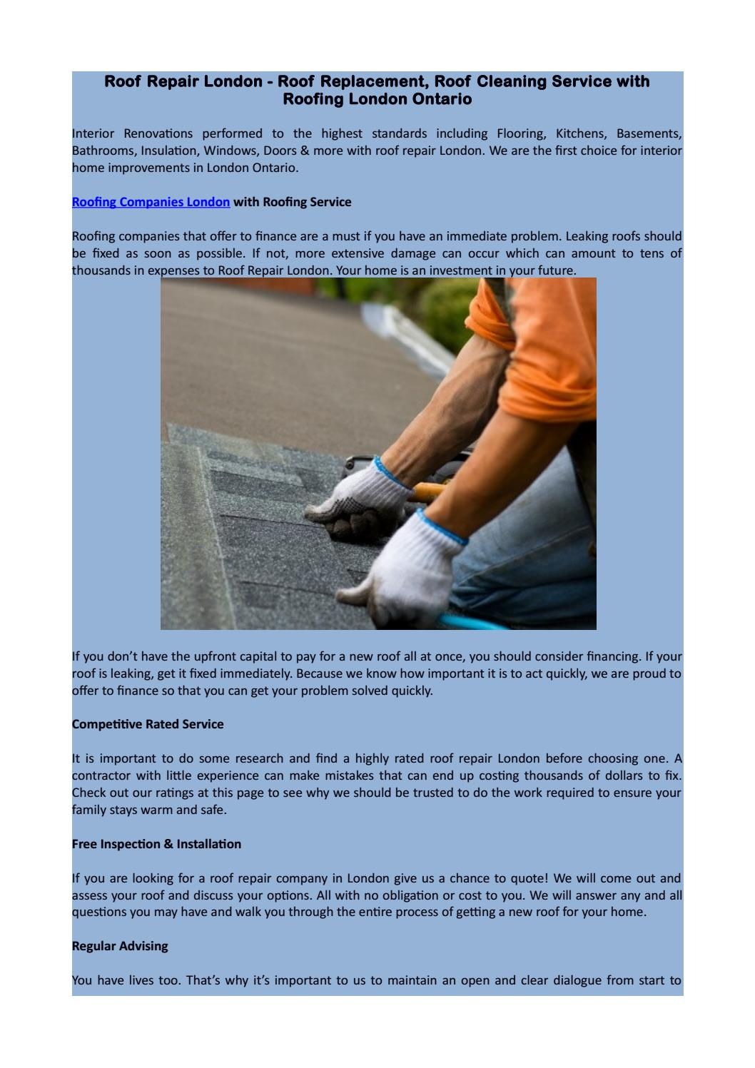 Roof Repair London Roof Replacement Roof Cleaning