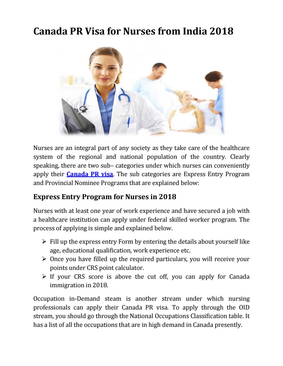 Canada Pr Visa For Nurses From India 2018 By Ap Immigration Pr Visa And Immigration Consultant For Canada Australia Issuu