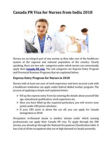 Canada PR Visa for Nurses from India 2018 by Canada pr visa - AP