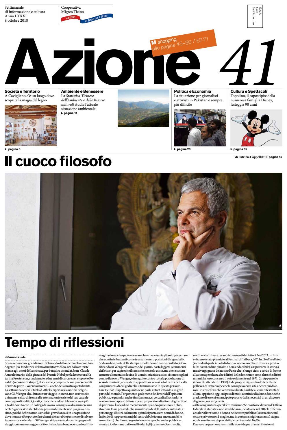 7d47636edc Azione 41 del 8 ottobre 2018 by Azione, Settimanale di Migros Ticino - issuu