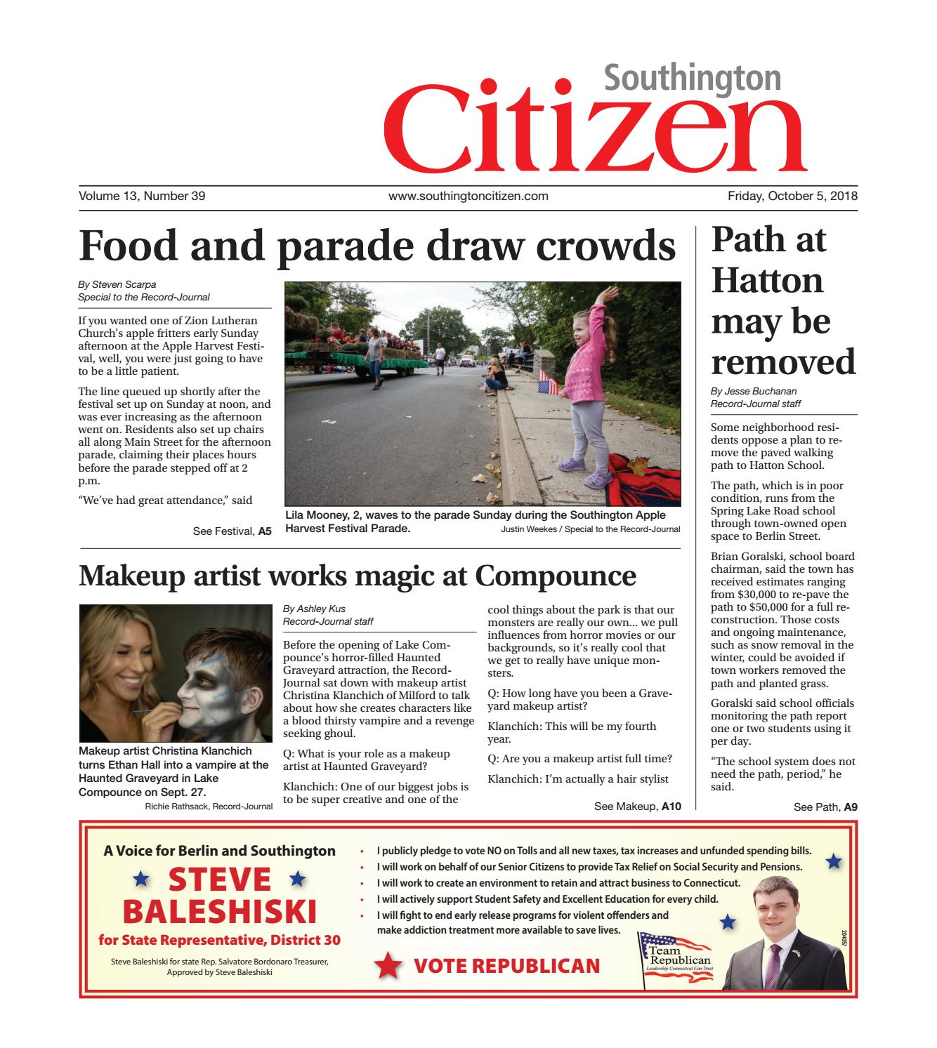 Southington Citizen, Oct  5, 2018 by Dan Champagne - issuu