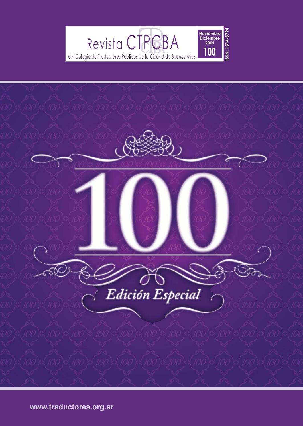 Revista CTPCBA N.º 100 by Colegio de Traductores Públicos de