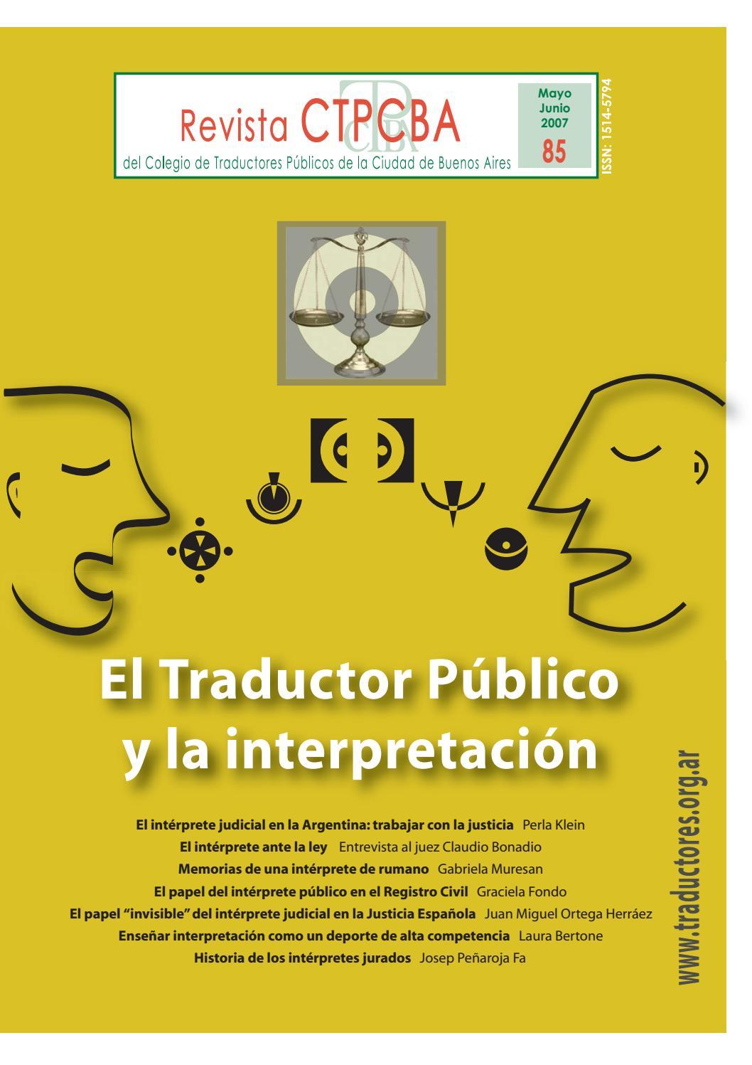 Revista CTPCBA N.º 85 by Colegio de Traductores Públicos de la ...