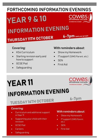 Page 2 of Forthcoming Information Evenings (Years 9, 10 and 11)