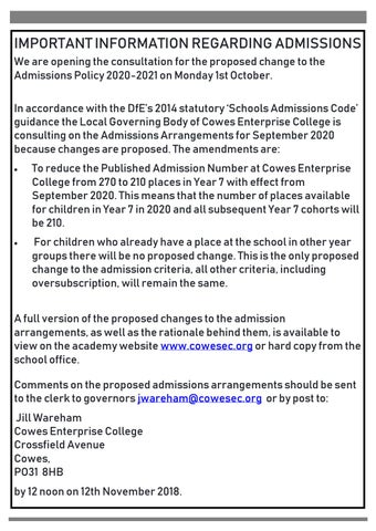 Page 3 of Important information regarding admissions
