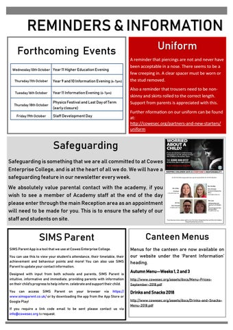 Page 7 of Reminders and information