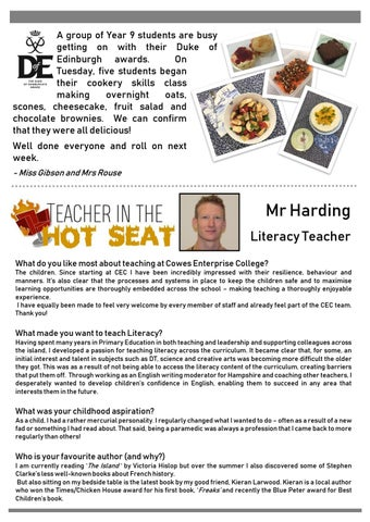 Page 8 of D of E News and Teacher in the Hot Seat