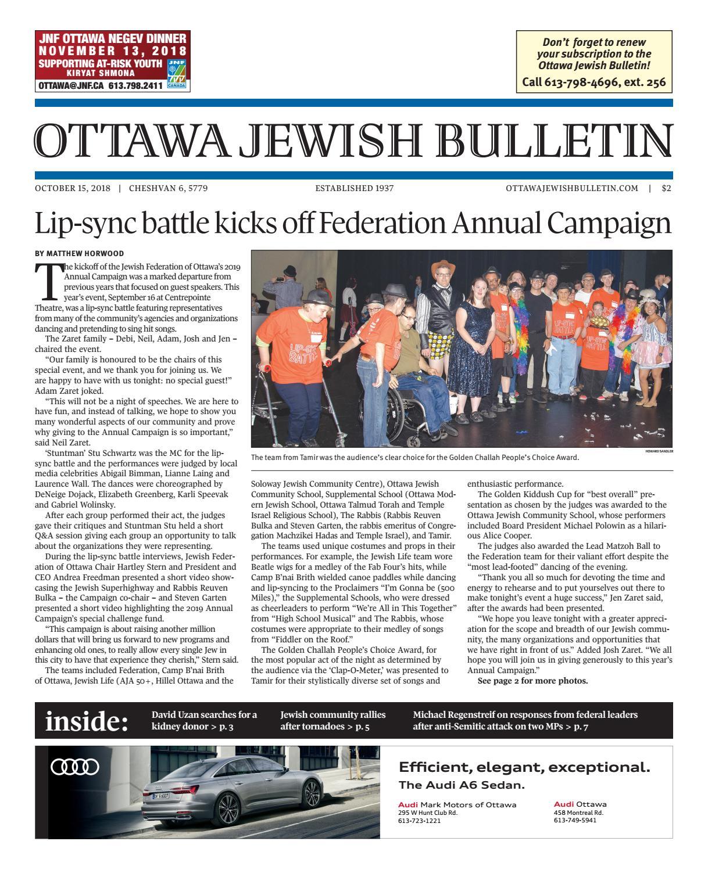 Ottawa Jewish Bulletin - October 15, 2018 by The Ottawa Jewish