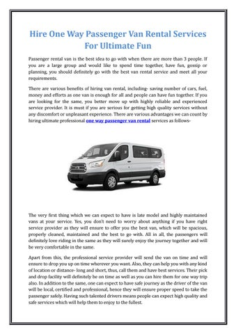 051406d66c Hire One Way Passenger Van Rental Services For Ultimate Fun Passenger  rental van is the best idea to go with when there are more than 3 people.