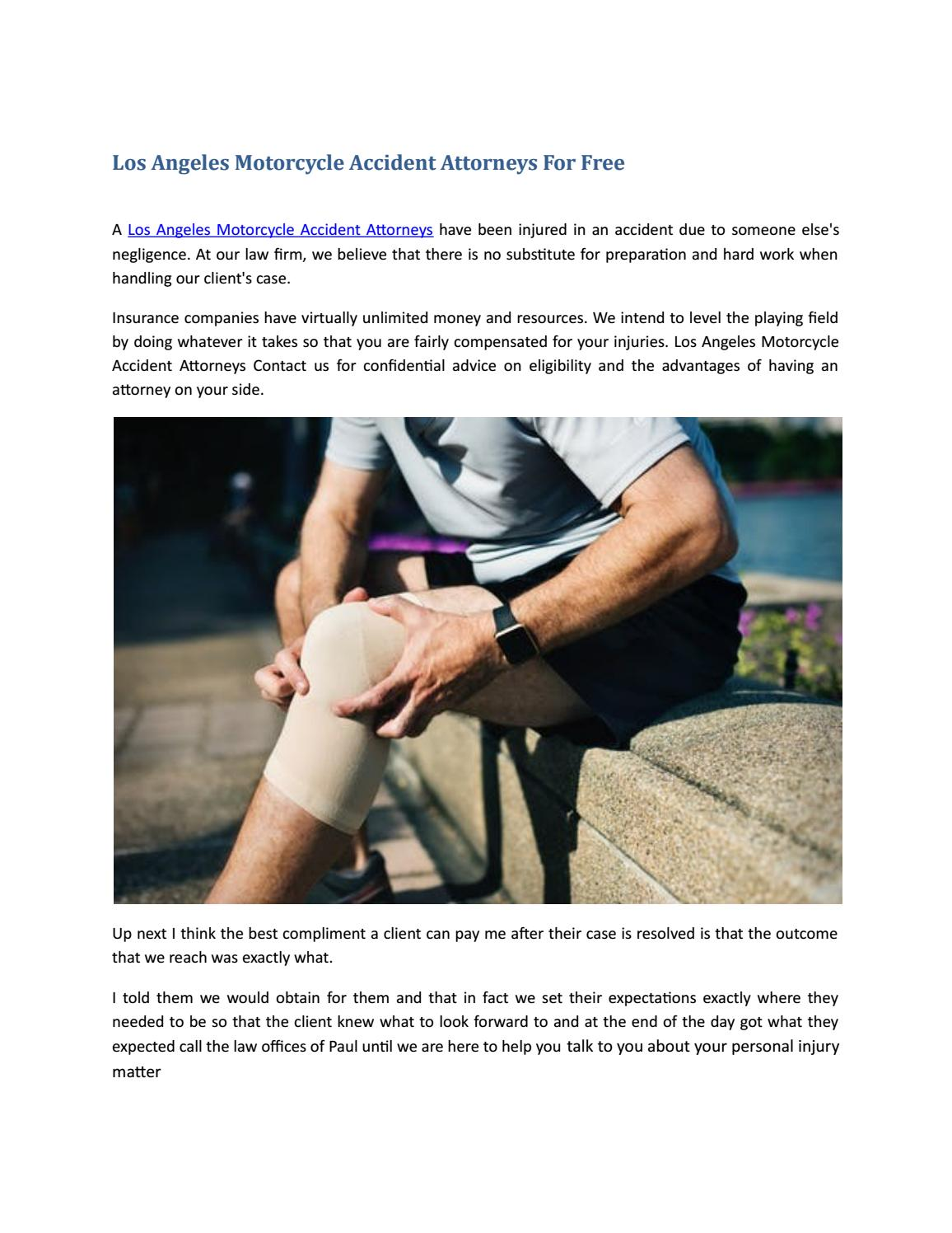 Los Angeles Motorcycle Accident Attorneys For Free by West
